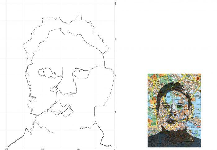 Self-portrait in Helsinki, 2005, 70 x 90 cm + map image approx. 25 x 20cm, inkjet print