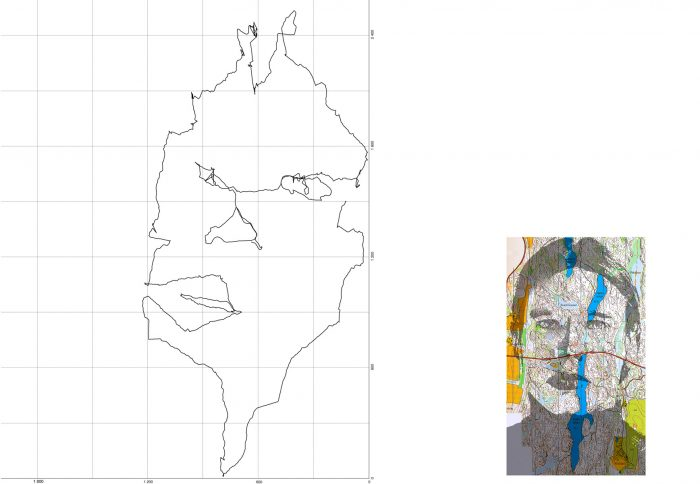 Self-portrait in Luukkaa Forest, 2005, 70 x 90 cm + map image approx. 25 x 20cm, inkjet print
