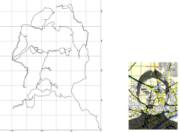 Self-portrait in Newcastle, 2005, 70 x 90 cm + map image approx. 25 x 20cm, inkjet print