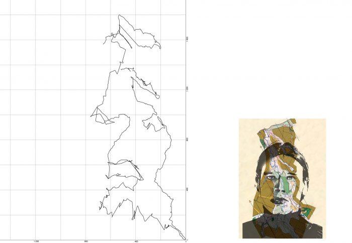 Self-portrait in Pontburn Woods, 2005, 70 x 90 cm + map image approx. 25 x 20cm, inkjet print